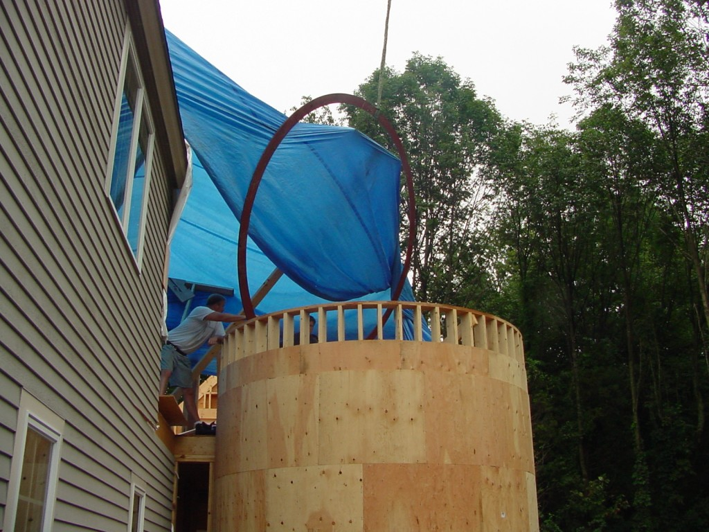 """Level 1 Sheathed showing Installation of 1/2"""" Steel Compression Ring with Crane"""