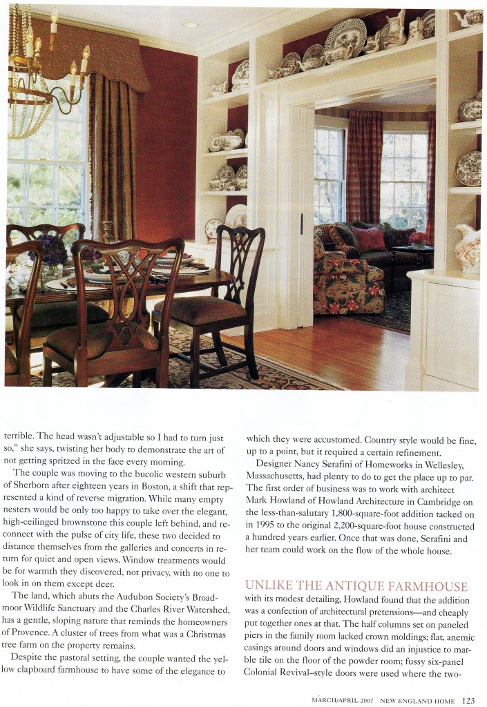 "2007 ""New England Home"" magazine article text (cont.)"